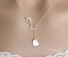 Infinity lariat necklace initial heart necklace, Personalized initial necklace, Infinity and heart necklace, Mother bridesmaid gifts Infinity Necklace, Moon Necklace, Lariat Necklace, Initial Necklace, Mother Necklace, Infinity Charm, Infinity Jewelry, Infinity Symbol, Leaf Jewelry