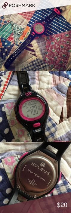 Soleus Dash: Sports Watch with bells & whistles From adventure race to hometown 10K, this sport watch gives you the high performance you require to get to the finish line. With the capability to track up to 10 runs, you can manage your progress quickly and easily. Great condition though the light isn't working. Black silicon strap with buckle. Womens. Soleus Accessories Watches