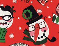 Telas diseñadores EEUU - navidad snowman red - hecho a mano por La-Retalera en DaWanda