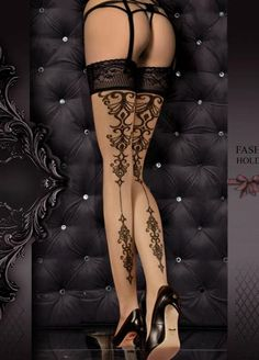 Ballerina 357 Stockings Black - A beautiful pair of stockings that has a swirl design along the back of the leg. An elegant lace trim features at the top of the stockings with two silicone strips included on the inside. Hold Up Stockings, Lady Stockings, Stockings And Suspenders, Metal Fashion, Baroque Fashion, Gothic Fashion, Fetish Fashion, Dark Fashion, Stocking Tattoo