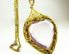 Art Deco Necklace Czech Amethyst Glass Heart Shape Gilt Antique Jewelry