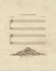 A poster of 'The Sound Of Silence' is visualised meaning of words to use metaphor. A word 'sound' visualises to notes and 'silence' is empty manuscript. Pile of notes serves interesting and a sense of humour. And it uses space and symmetrical layout.