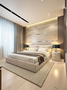 Contemporary Bedroom DesignEye Candy: 12 Drool-worthy Modern Home Libraries and…Bedroom Design Idea – Place Your Bed On Elegant and Modern Master Bedroom Design Ideas 2018 Luxury Bedroom Design, Bedroom Bed Design, Modern Master Bedroom, Modern Bedroom Decor, Minimalist Bedroom, Contemporary Bedroom, Home Bedroom, Bedroom Ideas, Trendy Bedroom