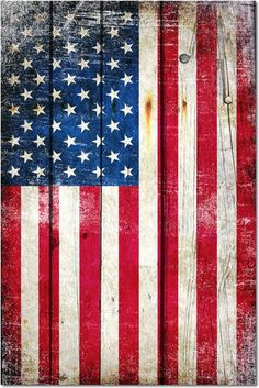 Vintage American Flag On Old Barn Wood Art Print by Freedom Gifts Usa - X-Small