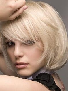Beautiful bob hairstyle with fringe for blondes