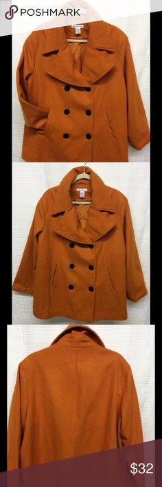 """JESSICA LONDON CLASSIC Orange Peacoat Plus Sz 20P Classic Peacoat Styling, size 20 Petite, double breasted with 1 1/8"""" black buttons with anchor design, 6"""" slash pockets, wide Peacoat collar, and a true orange color. Length 32"""", sleeve 23 1/2"""", shoulder 19"""" across, bust 27"""" across, width 29"""" across. 80% wool, 20% polyester, lining is 100% polyester. Dry clean only and extra button included. Preowned in good condition with no tears or discolorations. Thank you! Jessica London Classic Jackets…"""