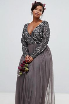 Buy Maya Plus long sleeve wrap front maxi dress with delicate sequin and tulle skirt in charcoal at ASOS. With free delivery and return options (Ts&Cs apply), online shopping has never been so easy. Get the latest trends with ASOS now. Tulle Skirt Plus Size, Plus Size Maxi Dresses, Satin Dresses, Sequin Dress, Long Tulle Dress, Wrap Dresses, Grey Bridesmaid Dresses, Cute Prom Dresses, Dance Dresses
