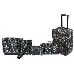 Six Piece Brocade Black Luggage Collection Best Luggage, Luggage Sets, Old Suitcases, Amazon Associates, Travel Accessories, Vacation Ideas, Image Link, Note, Collections