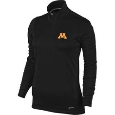 Minnesota Golden Gophers Nike Women's Thermal Half Zip Jacket – Black