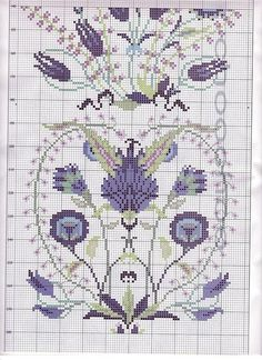 the whole design looks like a bell pull. anyway, here's the missing part of a 3-part cross stitch chart. | SOURCE: mornela.gallery.ru