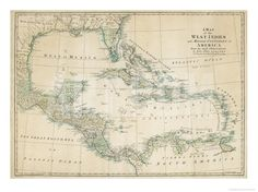 The Caribbean with the West Indies and the Coasts of the United States and the Spanish Possessions Giclee Print by John Blair at Art.com