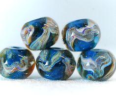 Boro lampwork beads  Galactic sapphir