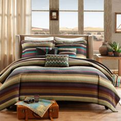 """<p>The beautiful combination of purple, teal and earth tones come together in thin stripes on this coverlet set featuring coordinating pillows that add dimension.</p><div style=""""page-break-after: always;""""><span style=""""display: none;"""">"""