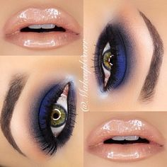 love the combo of the nude lips and the dark navy blue eyes