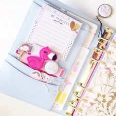 gretchenhope: This little pink flamingo has been following me from planner to planner. Cute little guy just makes me happy ☺️