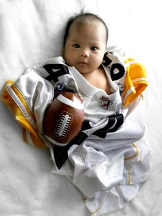 Baby, lex, baby photography, newborn, infant, wearing my dad's flag football jersey and my gameface on!