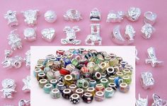 Wholesale Mixed Lot of 10 - 5 Silver Charms and Spacers and 5 Murano Glass Beads with 925 Core