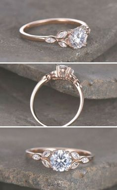 Sterling silver ring\/Round cut Cubic Zirconia engagement ring\/CZ wedding ring\/Three flower marquise\/promise ring\/Xmas gift\/Rose gold plated #affiliate #weddings #rings #weddingring  Engagement Rings  Oplysninger om vores hjemmeside