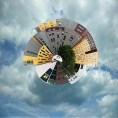 A shot of Birmingham City University made into a 'planet',