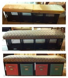 Crate bench with storage bins for students' journals. Super simple to make and not very costly. Supplies: milk crates (got them for free from Kroger), zip ties, plywood board, foam, fabric and matching storage drawers (from Lowes) Bench With Storage, Storage Bins, Craft Storage, Storage Drawers, Record Storage, Shoe Storage, Storage Organization, Storage Benches, Plastic Storage
