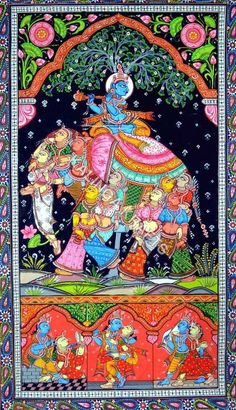 Patachitra Krishna On Elephant - Patachitra Krishna On Elephant Exporter, Manufacturer & Supplier, Cuttack, India Krishna Painting, Krishna Art, Shree Krishna, Radhe Krishna, Kerala Mural Painting, Indian Art Paintings, Madhubani Art, Madhubani Painting, Phad Painting