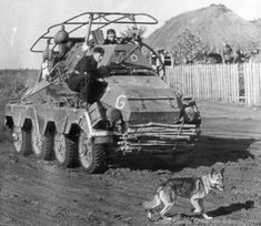 "Panzerfunkwagen in Russia. Notice the facine on the front. According to the original photo caption, the German shepherd is a Russian anti-tank bomb dog, which has been ""liberated"" by the Germans. Panzerkorps Guderian 1941-11-05"