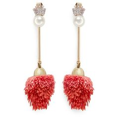 Venna Detachable pearl stud pompom drop earrings ($240) ❤ liked on Polyvore featuring jewelry, earrings, red, red pearl earrings, white pearl earrings, red earrings, white pearl drop earrings and pave drop earrings