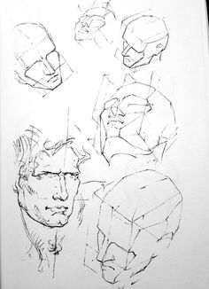 "George Bridgman, from ""Constructive Anatomy"" drawing the human head, bridgman anatomy, drawing heads Drawing The Human Head, Drawing Heads, Human Figure Drawing, Anatomy Drawing, Anatomy Art, Facial Anatomy, Head Anatomy, Art Drawings For Kids, Realistic Drawings"