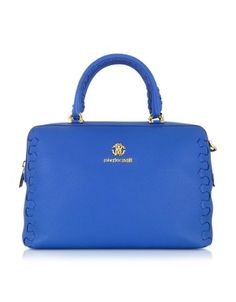 REGINA CERULEAN GRAINED LEATHER BOWLING BAG ROBERTO CAVALLI