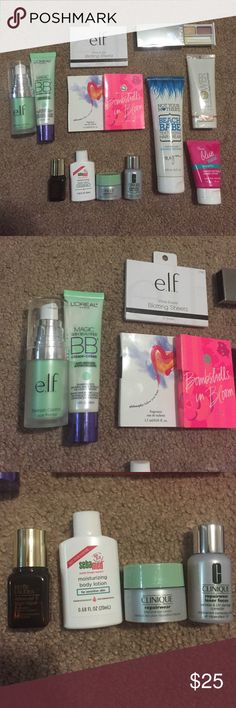 Beauty Bundle Open to offers! Some of these items have never been used and some of them were swatched or tested. This beauty bundle includes: Elf blemish control face primer (used once), Loreal green BB cream (used about 3 times), Elf blotting sheets (used at least 10 out of 30 sheets), Philosophy: Follow Your Heart sample (new), VS Bombshells in Bloom sample (new), Clinique Eyeshadow (swatched), Flower Primer (new), True Blue mini lotion (new), Estée Lauder advanced night repair (new)…