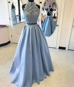 Blue Two Piece Lace Prom Dress,A Line High Neck Evening Dress
