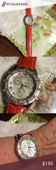 Beautiful Invicta Watch w Diamonds & Rubies This gorgeous watch has a new red leather watchband &  battery. What looks like second hand is non working stop watch-It has second hand feature Invicta Other