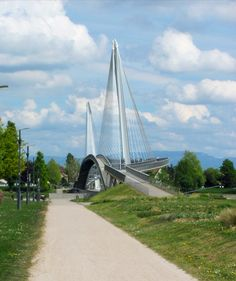Pedestrian & bicycle bridge over the Rhine river between  Germany and France near Strausbourg, France