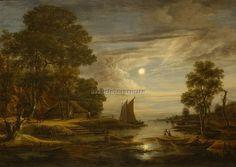 月明かりの下の船のある川の風景 アールト・ファン・デル・ネール