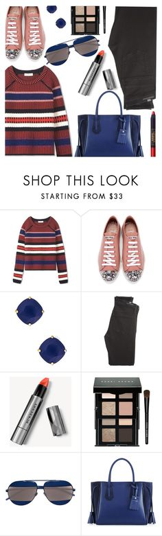 """""""Blue Touches"""" by stacey-lynne ❤ liked on Polyvore featuring Tory Burch, Miu Miu, Kate Spade, Citizens of Humanity, Burberry, Bobbi Brown Cosmetics, Christian Dior, Longchamp and Lipstick Queen"""