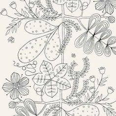 5007490, Blommen Noir Blanc, Schumacher Wallpapers