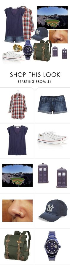 """""""Yankee Game--New York Day Four"""" by pianokeys2013 ❤ liked on Polyvore featuring Madewell, True Religion, MANGO, Converse, American Needle, United by Blue, Light Time, travel, Newyork and capsulewardrobe"""