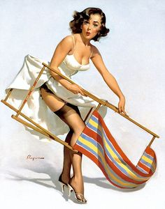 """""""Help Wanted"""" (Pretty Puzzled), 1956 by Gil Elvgren  #257"""
