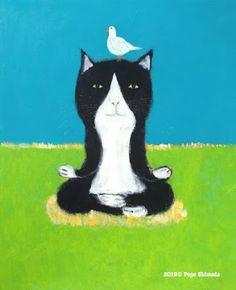 "Pepe Shimada Studio: ""Yoga cat and white pigeon"" Acryli. White Pigeon, Yoga Images, Spirited Art, Yoga Cat, Cat Drawing, Crazy Cats, Cat Art, Cartoons, Illustration Art"