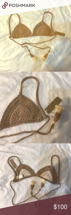 (2) NWT nude free people she made me bikini top TWO NWT same size s/m but could also for a large and and band size, also up to a cup size of D! These are amazing. Tassel and she'll detail. Thick Braided crochet strap, very high quality! Love these! More coming soon! Get them while you can! Will match with any color or style bottom! Free People Swim Bikinis