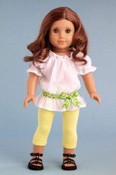 DreamWorld Collections Sunny Day - White cotton blouse with yellow leggings and green belt (Shoes not included) - American Girl Doll Clothes : Casual Doll Outfits