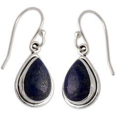 NOVICA Fair Trade Sterling Silver and Lapis Lazuli Earrings ($49) ❤ liked on Polyvore featuring jewelry, novica jewelry, sterling silver jewelry, handcrafted jewellery, handcrafted jewelry and novica