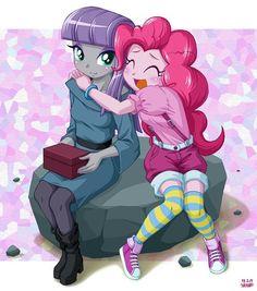 My Little Pony Friendship is Magic Photo: Maud ans Pinkie Rainbow Rocks, Rainbow Dash, Pinkie Pie, Fluttershy, Little Poni, Fanart, My Little Pony Pictures, Estilo Anime, My Little Pony Friendship