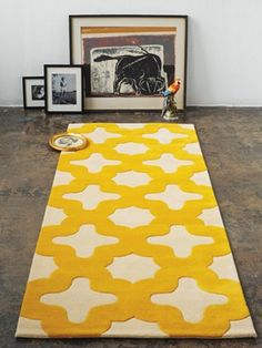 I want this rug in my living room post haste! yellow rug from bevhisey Teal Rug, Patterned Carpet, Mediterranean Rugs, Rugs, Home Textile, Apartment Interior Design, Yellow Rug, Interior Design Inspiration, Home Decor