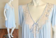 Vintage 70s 80s Lucie Ann Nightgown Gown Baby Blue Large Full Sweep Eyelash Lace by MemphisVintage on Etsy