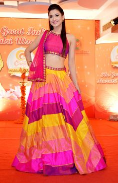 Gauahar (Gauhar) Khan at a Navratri event's press conference. #Bollywood #Fashion #Style #Beauty #Hot