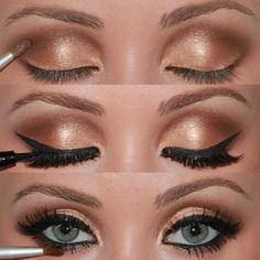 summer vintage wedding makeup | this look is perfect for summer weddings the gold and light brown ...