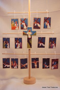 Stations of the Cross Ornaments with tree and bonus 15th Station...