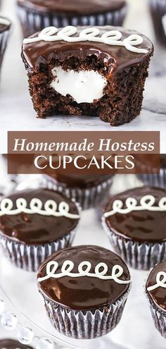 These Homemade Hostess Cupcakes elevate the well known treat into something truly special and decadent. A super moist chocolate cupcake is filled with a light marshmallow filling and covered in chocolate ganache, then frosted with a swirl of vanilla icing! Hostess Cupcakes, Fun Cupcakes, Cupcake Recipes, Cookie Recipes, Dessert Recipes, Chocolate Cupcakes, Chocolate Ganache, Cream Filled Cupcakes, Basic Butter Cookies Recipe