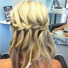 Waterfall braid with curls! Prom hair